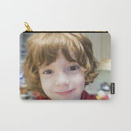 Child smiling and joking in a living room Carry-All Pouch