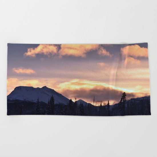Flat Top Sunrise Serenity Rose Beach Towel