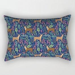 Deer Pattern blue Rectangular Pillow