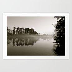 Misty Lake B&W Art Print