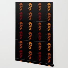Skulls 3x3 - Dark Red, Burnt Orange, Goldenrod Wallpaper