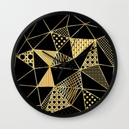 gold geometric with pattern Wall Clock