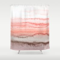coral Shower Curtains featuring WITHIN THE TIDES CORAL DAWN by Monika Strigel®