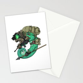 Chameleon Special Force Military with spear gift ideas Stationery Cards