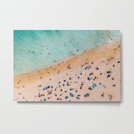 People On Algarve Beach In Portugal, Drone Photography, Aerial Photo, Ocean Wall Art Print Metal Print