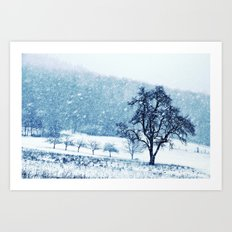 Old pear tree (cool edition) Art Print