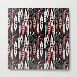 Graphic seamless pattern of bean seeds and flowers on a black background Metal Print