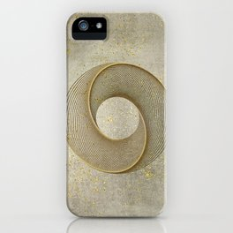 Geometrical Line Art Circle Distressed Gold iPhone Case