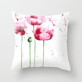 Expressive poppies    watercolor Throw Pillow