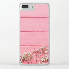 Baby's Breath x Candy Pink Wood Clear iPhone Case