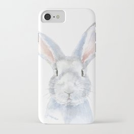 Gray Bunny Rabbit Watercolor Painting iPhone Case