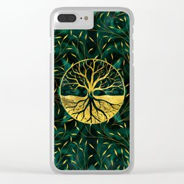 Golden Tree of Life on Malachite Clear iPhone Case