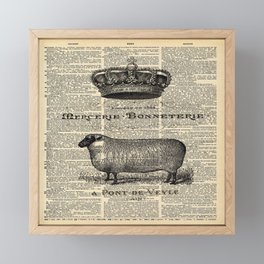 french dictionary print jubilee crown western country farm animal sheep Framed Mini Art Print