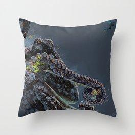 """""""Release the Kraken"""" - Giant Octopus Digital Illustration Throw Pillow"""
