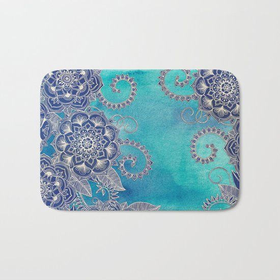 Mermaid's Garden - Navy & Teal Floral on Watercolor Bath Mat
