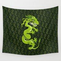 smaug Wall Tapestries featuring Jade Dragon by Cartoonasaurus