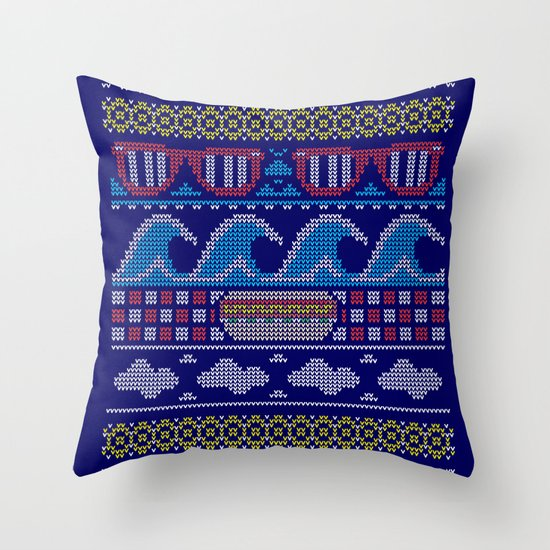 Ugly Summer Sweater Throw Pillow