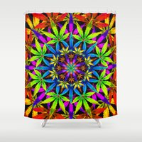 cannabis Shower Curtains featuring Stoners' Mandala Cannabis Leaf Art Digital Illustration by The Weed Art Lady