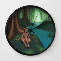 elf Wall Clocks featuring Elf by Egberto Fuentes