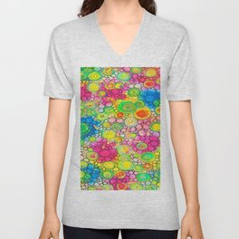 Psychedelic Circles Mixed media painting Unisex V-Neck