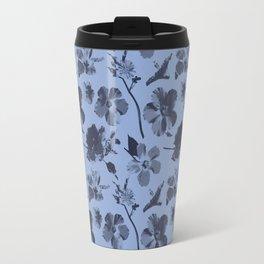 Aloha Flowers on Serenity Blue Travel Mug