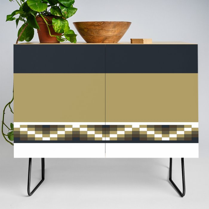 Block Wave Illustration 2 Thick Bold Horizontal Lines Digital Artwork Credenza