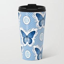 Chinoiseries Porcelain Butterfly Blue Travel Mug