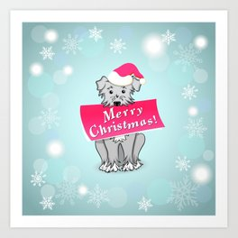 blue merry christmas Art Print