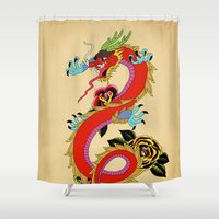 dragon Shower Curtains featuring dragon  by mark ashkenazi
