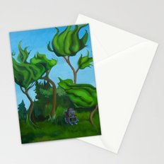 Robot in a Forest Painting Stationery Cards
