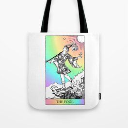 0. The Fool- Pastel Rainbow Tarot Tote Bag