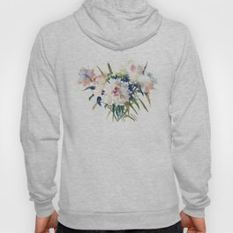 White Peonies, Asian Watercolor design Garden Peonies White lofral art Hoody