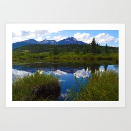 Pyramid Mountain as seen from Cottonwood Slough in Jasper National Park, Canada Art Print