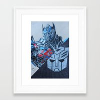 optimus prime Framed Art Prints featuring Optimus Prime  by JH Art