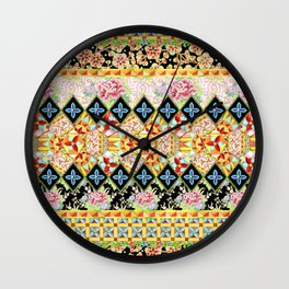 Folkloric Crazy Quilt (printed) Wall Clock