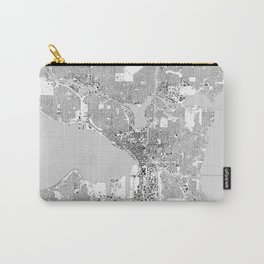 Seattle, Washington City Map, Black/White Carry-All Pouch