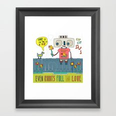 Even robots fall in love Framed Art Print