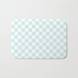 Small Checkered - White and Light Cyan Bath Mat