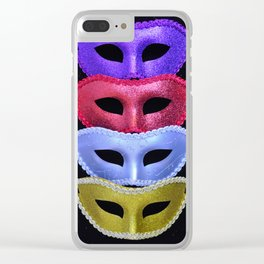Colorful glitter costume masks Clear iPhone Case