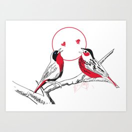 Loving red black birds Art Print