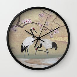 Cranes Under Cherry Tree Wall Clock