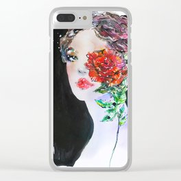 Girl with a rose Fashion Illustration Clear iPhone Case