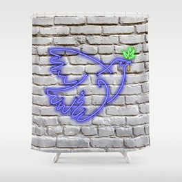 Peace Pigeon Brick- The Copy is a Hommage Shower Curtain