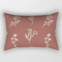 Botanical Wildflowers Line Art Rectangular Pillow