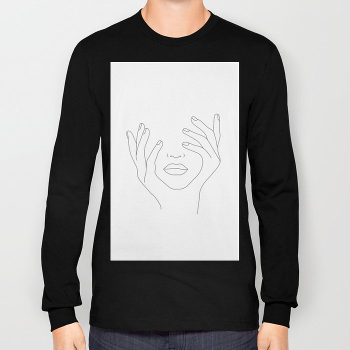 Minimal Line Art Woman with Hands on Face Long Sleeve T-shirt