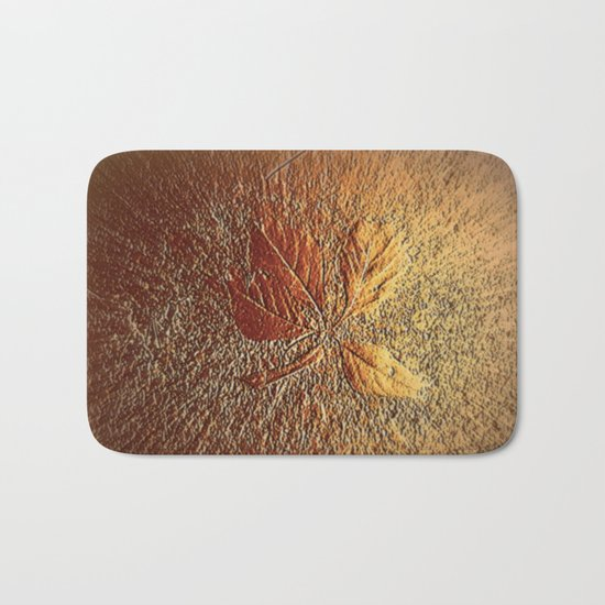 Rust glitter leaves in fall Bath Mat