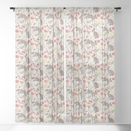 Bunny Meadow Pattern Sheer Curtain