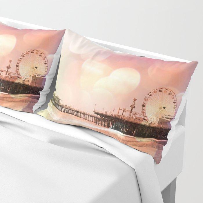 Sparkling pink Santa Monica Pier Pillow Sham