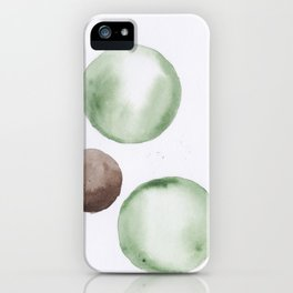 11 |181104 Australian Leaf Green & Brown Earth Orbs | Watercolour Circle Abstract Geometrical iPhone Case