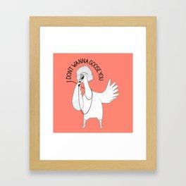 Goose singing Tina Turne   Animal Karaoke   Illustration   Red Framed Art Print